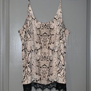 Rachel Zoe snake print and lace camisole